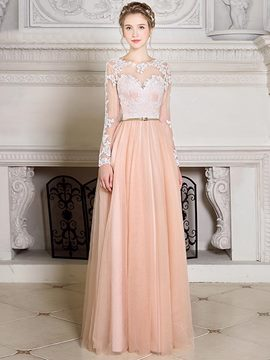 Ericdress A Line Long Sleeve Applique Floor Length Evening Dress