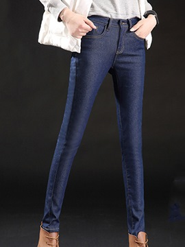 Ericdress Solid Color Skinny Washable Denim Jeans