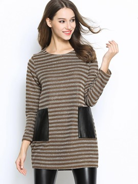 Ericdress Faux Leather Pocket Knitwear