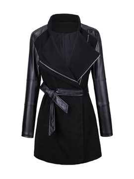Ericdress Slim PU Patchwork Belt Coat