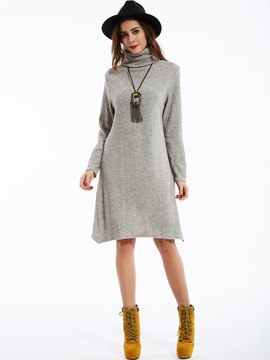 Ericdress Loose Plain Turtleneck Sweater Dress