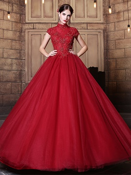 Ericdress High Neck Appliques Beaded Long Quinceanera Dress