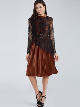 Ericdress Vintage Round Neck Lace Patchwork Casual Dress