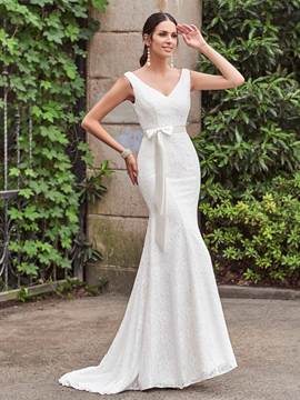 Ericdress Classic V Neck Lace Mermaid Wedding Dress