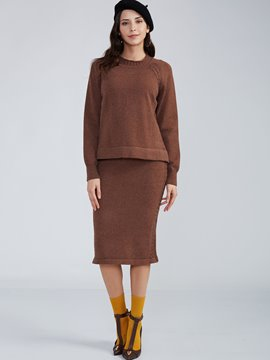 Ericdress Round Neck Knitwear And Sweater Skirt Suit