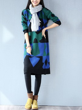 Ericdress Geometric Patchwork Round Collar Straight Sweater Dress