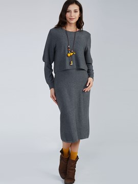 Ericdress Round Neck Knitwear Floor-Length Dress Two Piece Set