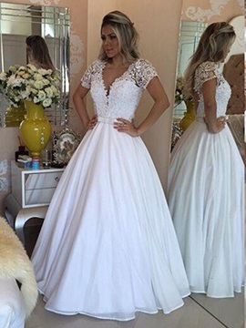 Beading Scoop A-Line Short Sleeves Wedding Dress