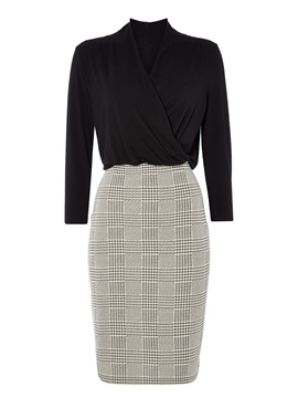 Ericdress V-Neck Double-Layer Houndstooth Sheath Dress