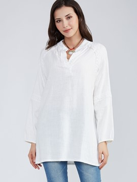 Ericdress Plain V-Neck Lantern Sleeve Blouse