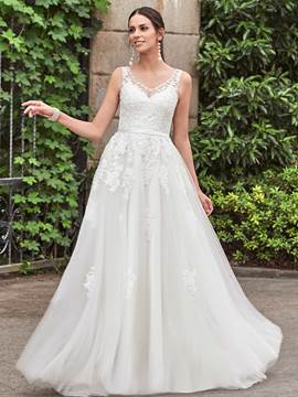 Ericdress Beading V Neck Appliques Wedding Dress