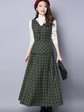 Ericdress Plaid Suspenders Sleeveless Vest Expansion Skirt Suit