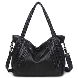 Ericdress Black Plain Pattern Braided Shoulder Bag