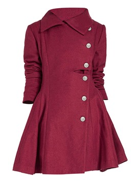 Ericdress Solid Color Slim Wave Cut Asymmetric Coat