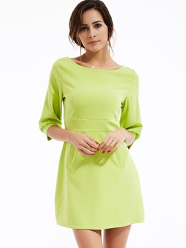 Ericdress Stylelines Pocket Round Collar Lantern Sleeve Casual Dress
