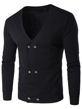 Ericdress Plain Pocket Double-Breasted Men's Sweater