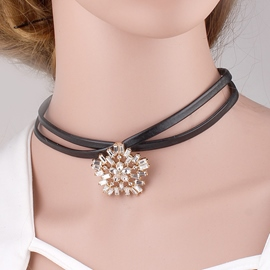 Ericdress Rhinestone Flower Leather Choker Necklace