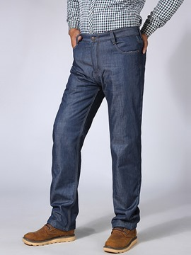 Ericdress Plus Size Thicken Warm Straight Casual Men's Jeans