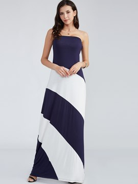 Ericdress Color Block Strapless Expansion Maxi Dress
