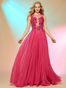 Ericdress A Line Scoop Neck Lace Sequin Applique Long Prom Party Dress