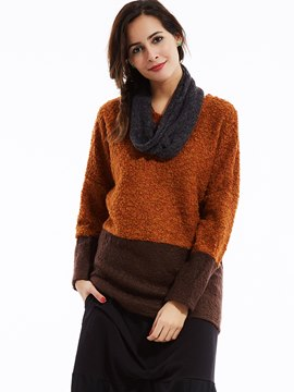 Ericdress Loose Color Block Pullover Knitwear