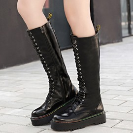 Ericdress Korean PU Lace up Side Zip Knee High Boots