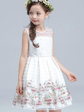 Ericdress Whit Floral Lace Pleated Princess Girl's Dress