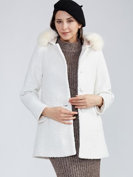 Ericdress Plain Single-Breasted Hooded Coat