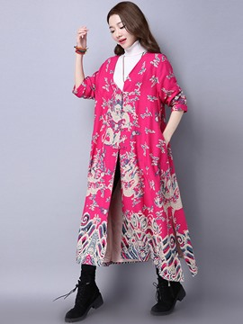 Ericdress Loose Floral Printed Trench Coat
