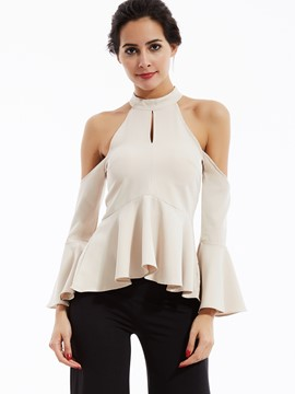 Ericdress Turtleneck Cold Shoulder Flare Sleeves Shirt
