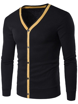 Ericdress Single-Breasted Slim V-Neck Men's Sweater