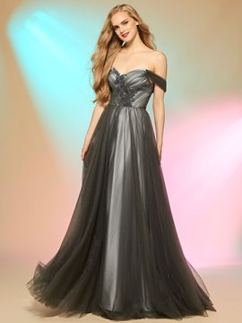 Ericdress A Line Off The Shoulder Floor Length Silver Long Prom Dress