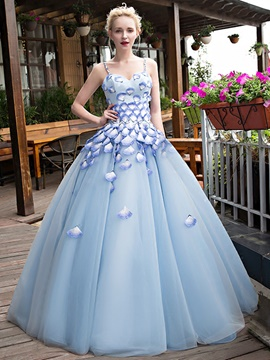 Ericdress Spaghetti Straps Flowers Floor-Length Quinceanera Dress
