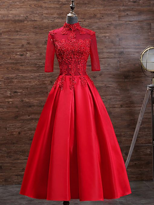 Ericdress Half Sleeves Appliques Red Tea-Length Evening Dress
