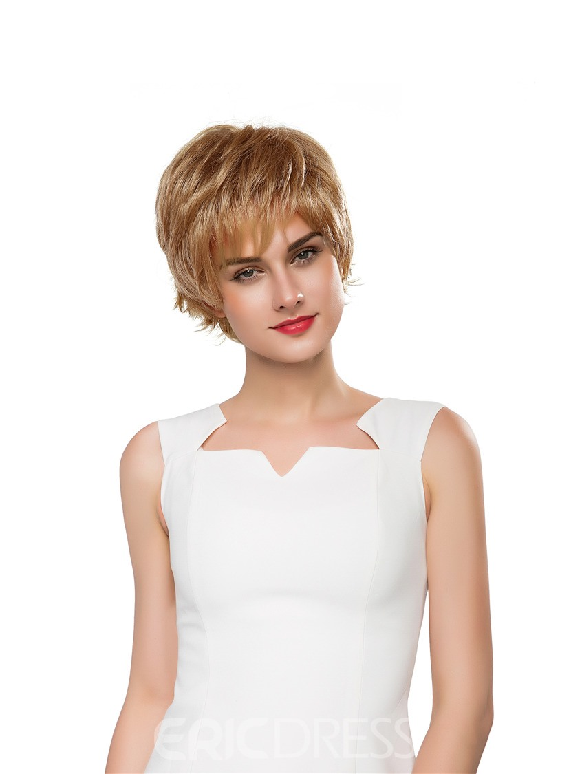 Ericdress Short Wavy Layered Human Hair Capless Wig 10 Inches 12807459