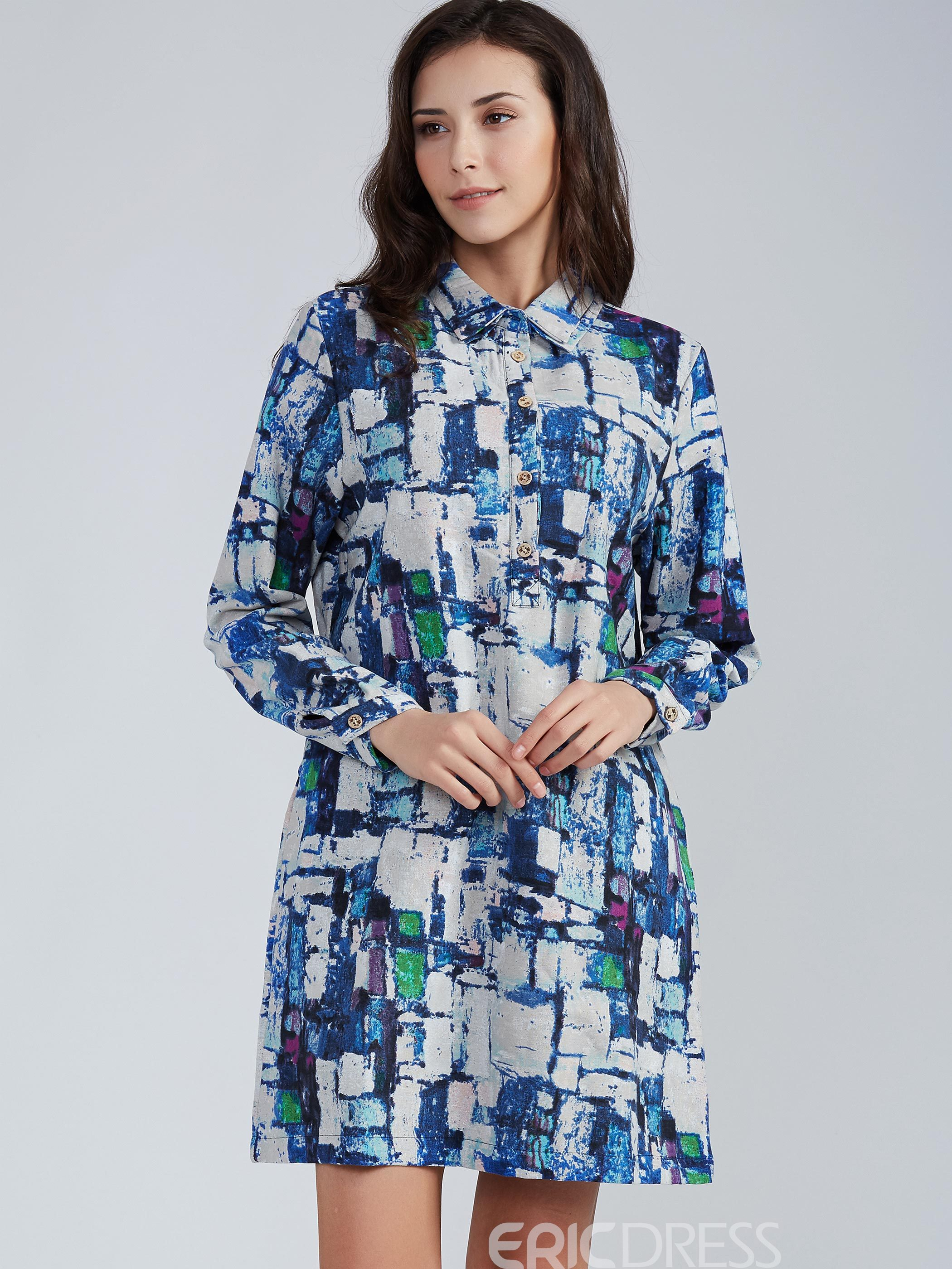 Ericdress Lapel Color Block Single-Breasted A-Line Casual Dress