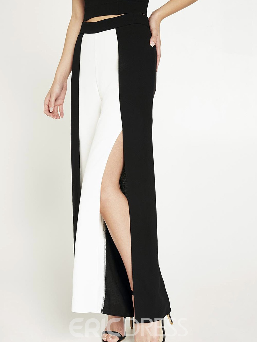 Ericdress Color Block Wide Legs Pants