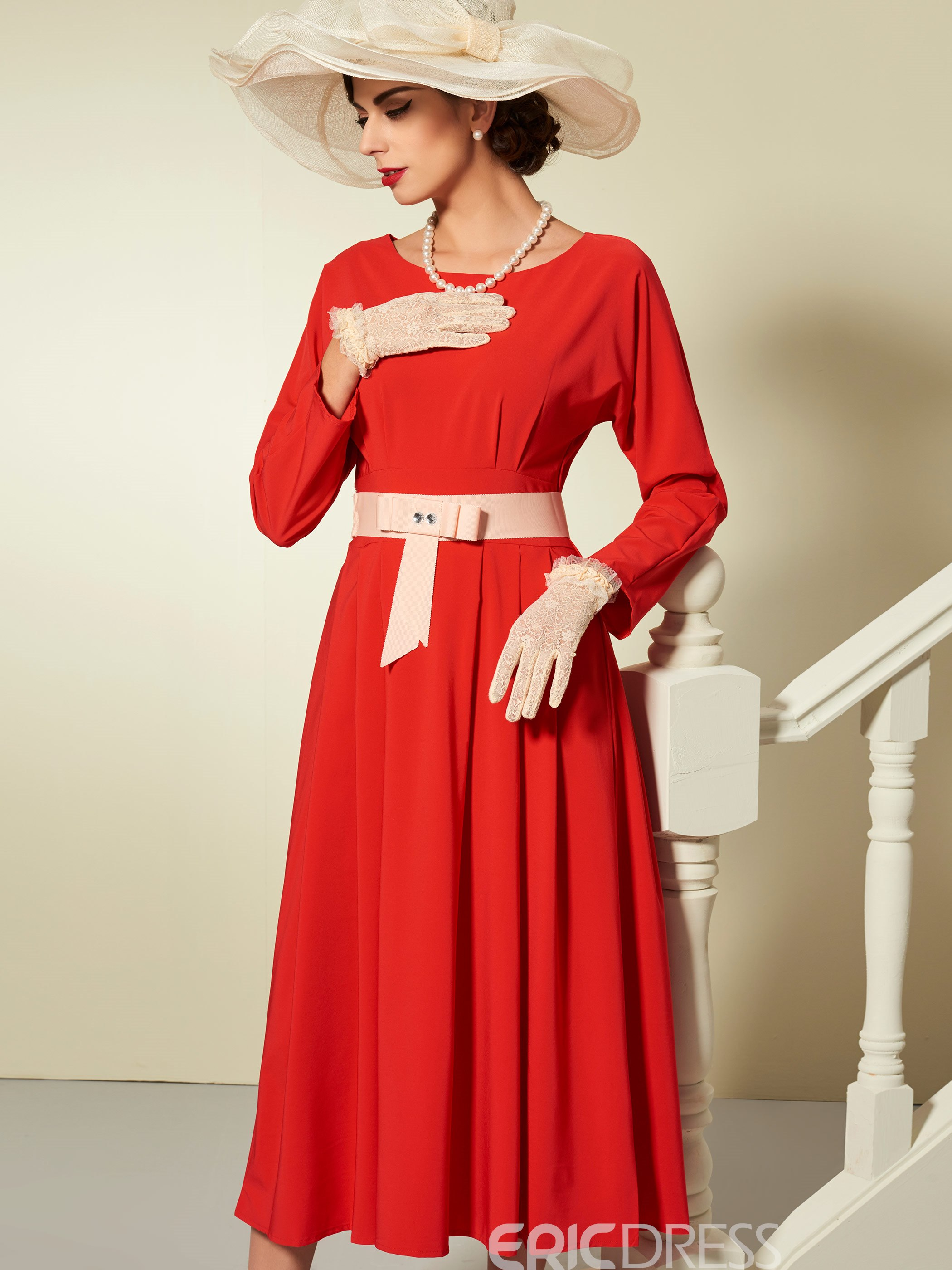 Ericdress Round Collar Bead Patchwork Belt Pleated Maxi Dress