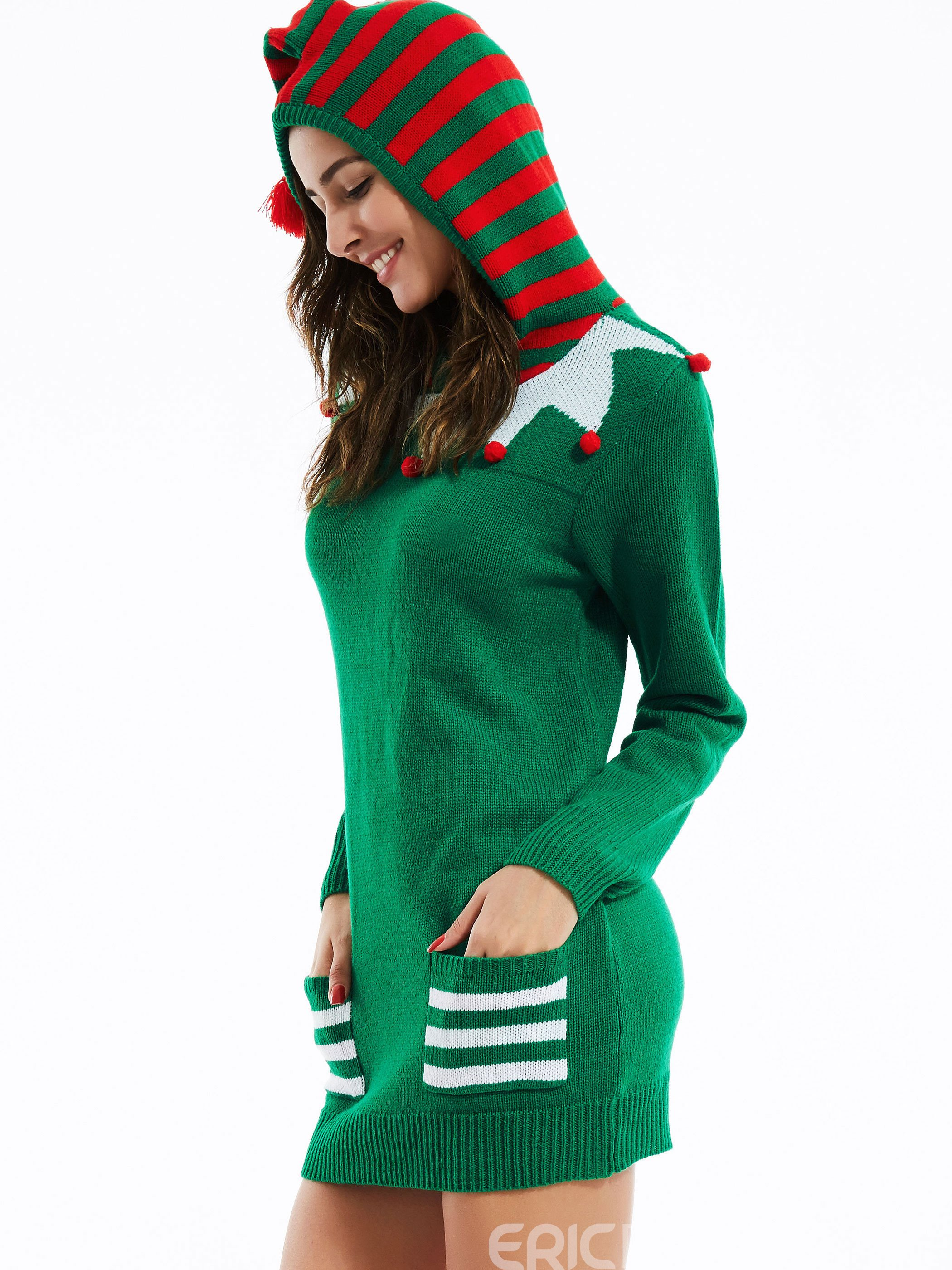 Ericdress Green Christmas Hooded Knitwear
