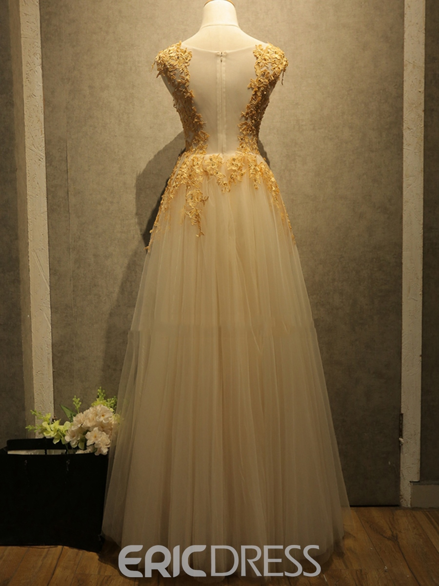 Ericdress A-Line Cap Sleeves Long Prom Dress With Appliques And Beading