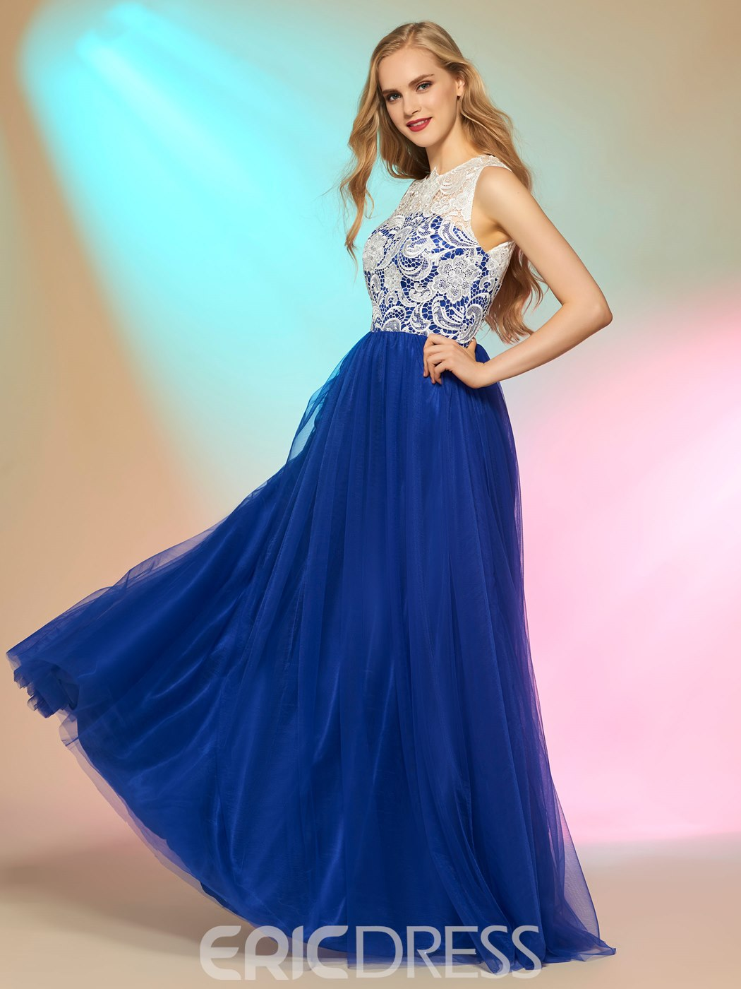 Ericdress A Line Contrast Color Long Sleeve Prom Dress