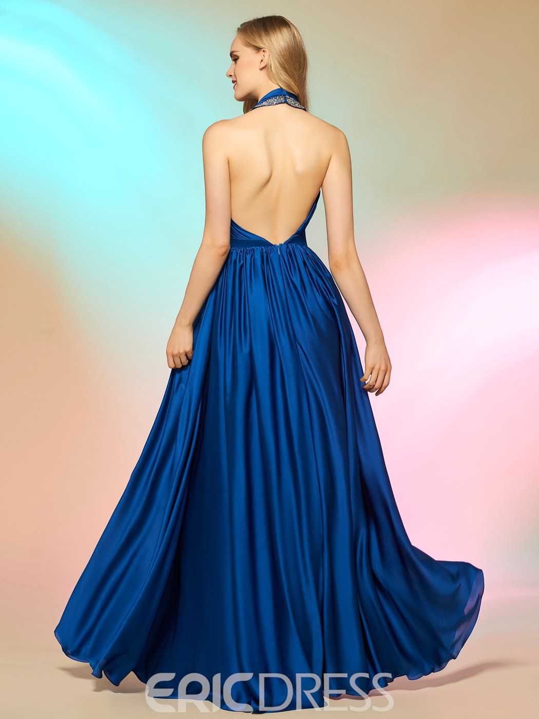Ericdress Graceful Halter Beaded Backless A Line Long Prom Dress