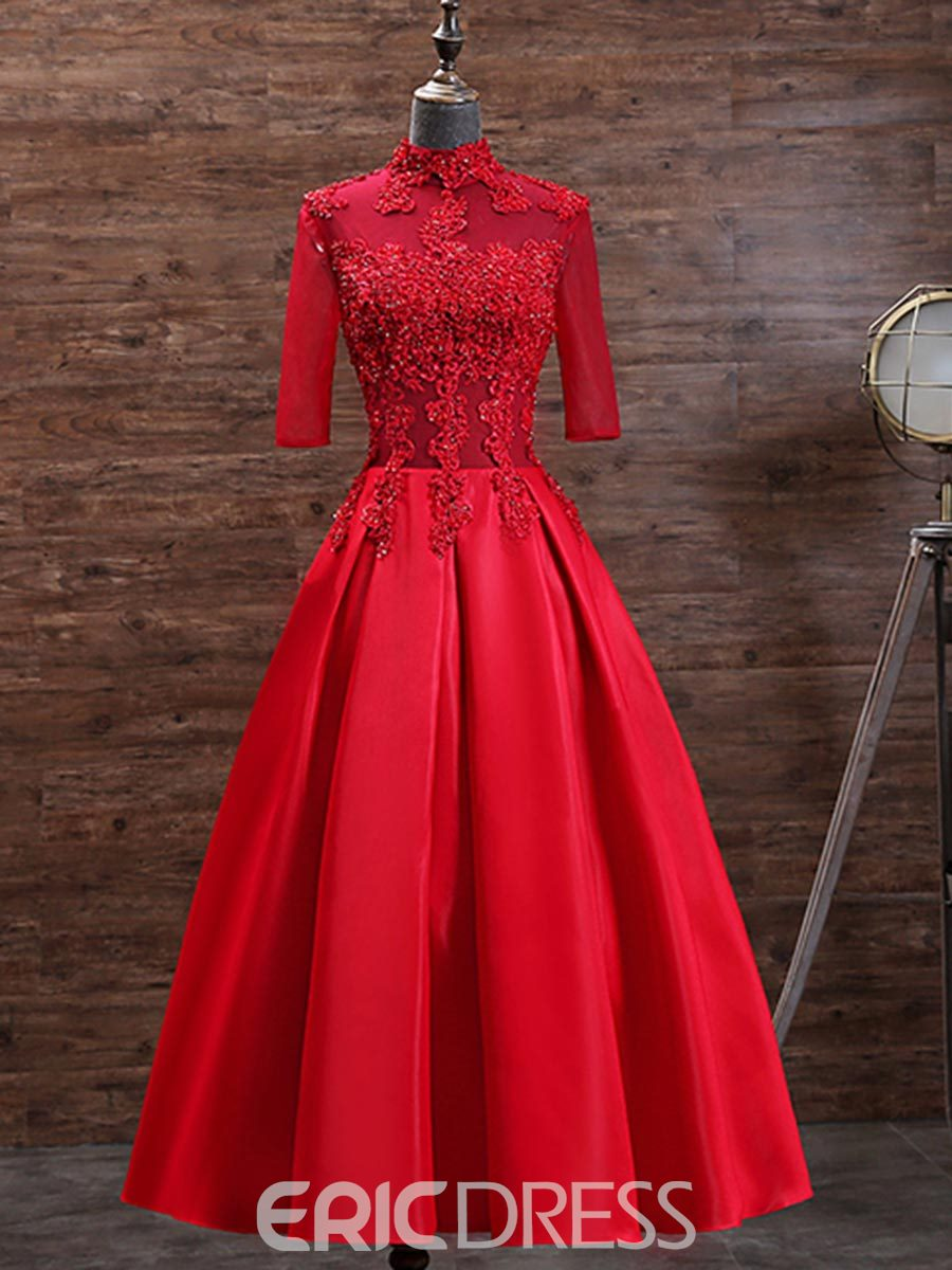 Ericdress Half Sleeve High Neck Applique Tea Length Evening Dress ...