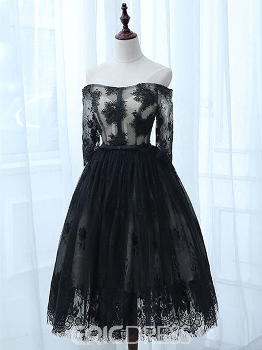Ericdress Half Sleeves Off-the-Shoulder A-Line Lace Bowknot Knee-Length Cocktail Dress