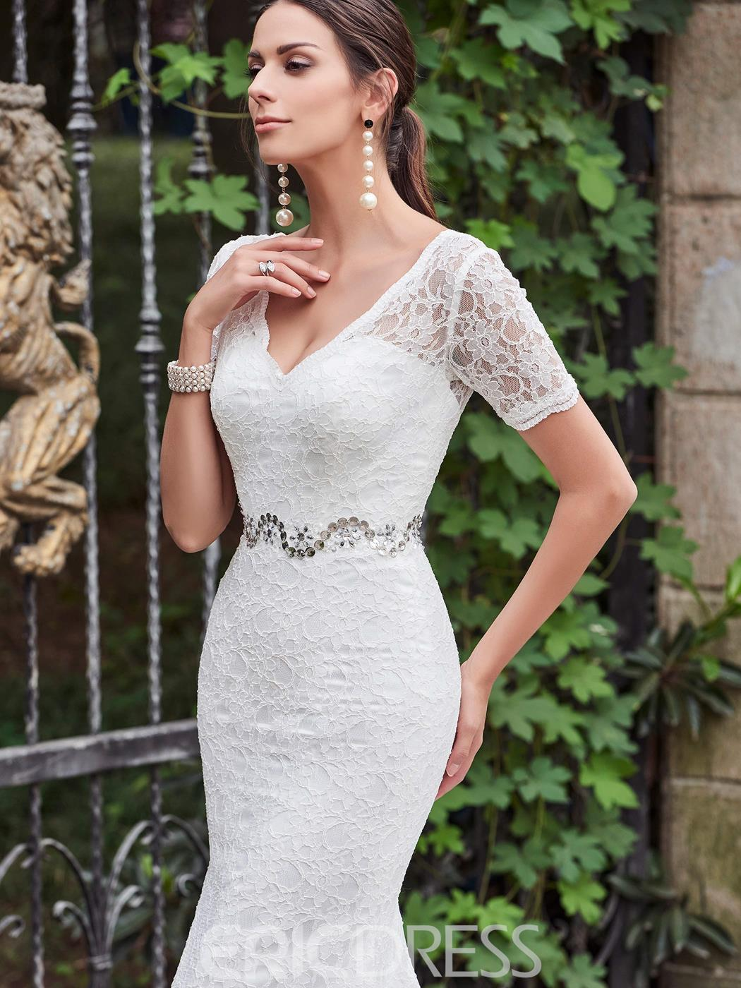 Ericdress High Quality V Neck Short Sleeves Lace Mermaid Wedding Dress