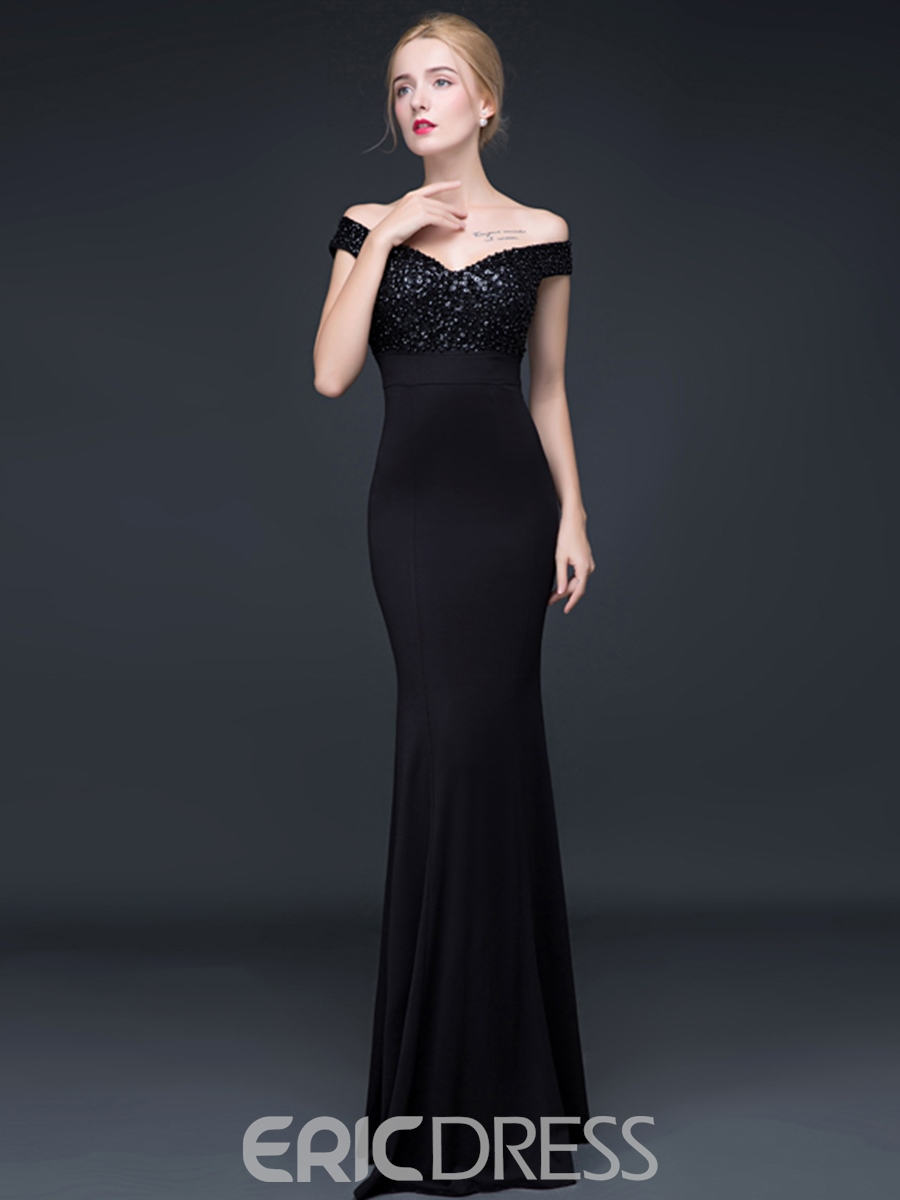 Ericdress Sexy Off The Shoulder Beaded Mermaid Evening Dress
