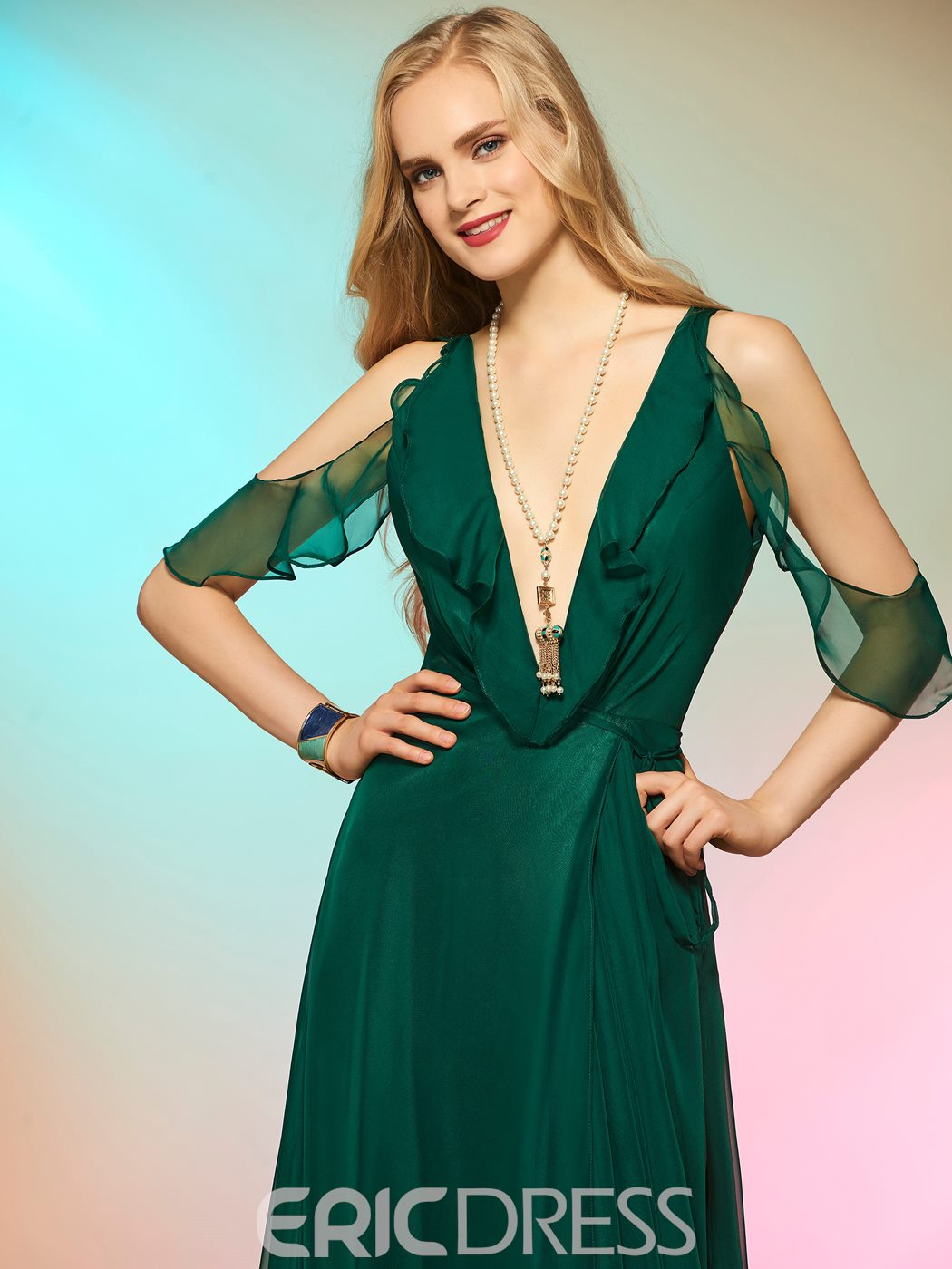 Ericdress Sexy V Neck Side Slit Deep Back A Line Long Evening Dress