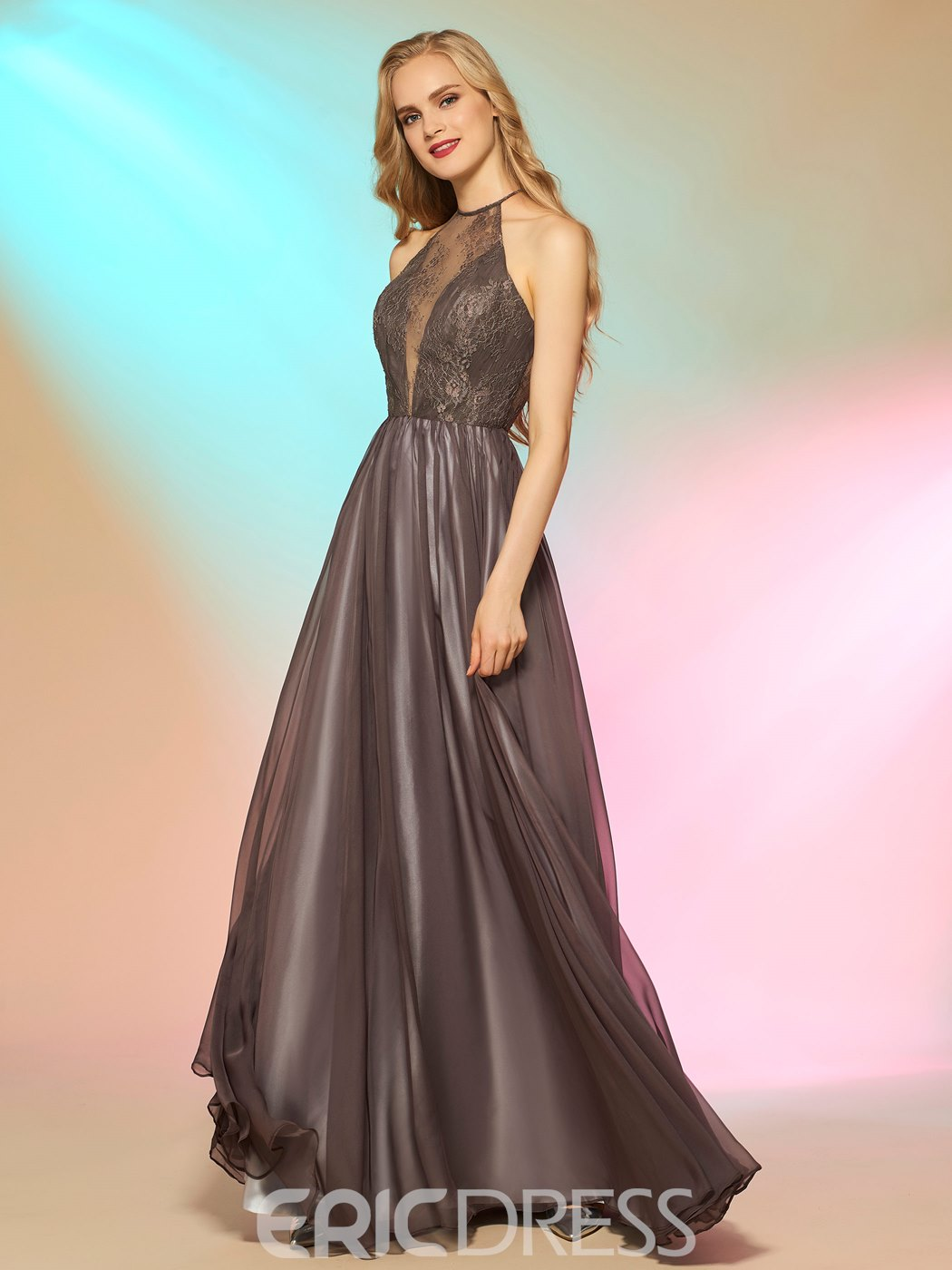 Ericdress Fancy A Line Halter Lace Floor Length Long Prom Dress