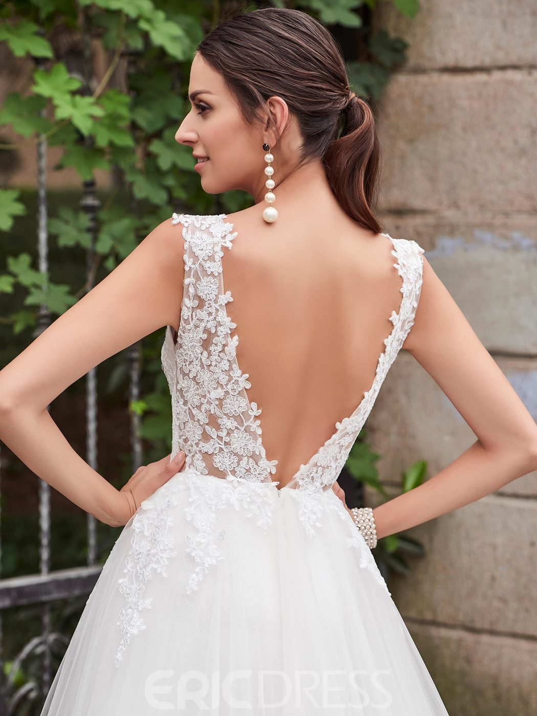 Ericdress Charming V Neck Backless Mermaid Lace Wedding Dress