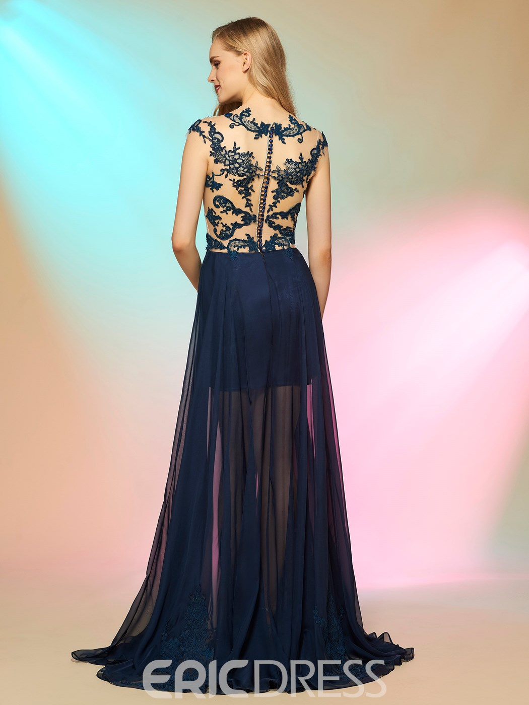 Ericdress Fancy A-Line Cap Sleeves Appliques Button Long Prom Dress